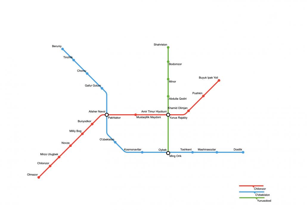 Tashkent Metro Map, Tashkent Metro, Tashkent, Uzbekistan
