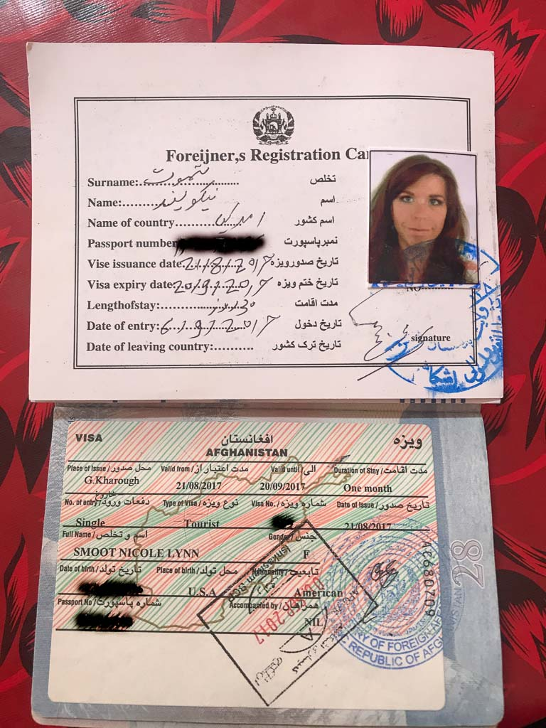 Afghan visa, Afghan registration card