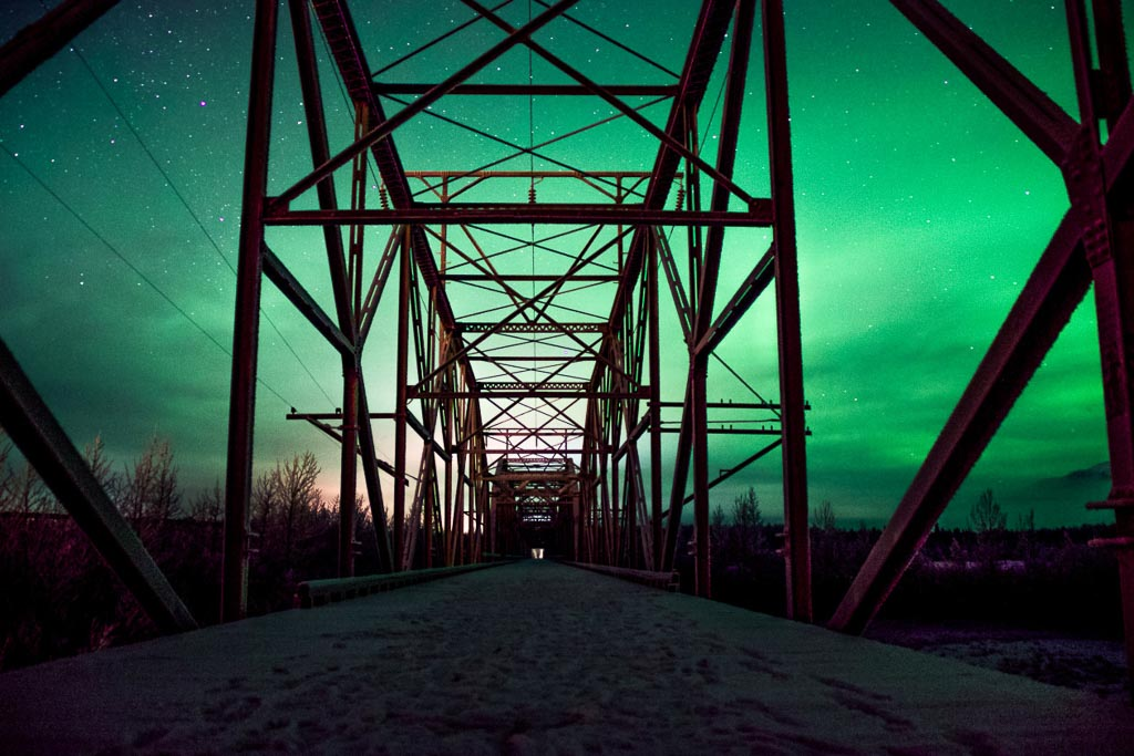 northern lights in knik, aurora, aurora borealis, alaska, knik bridge, knik river, knik, northern lights