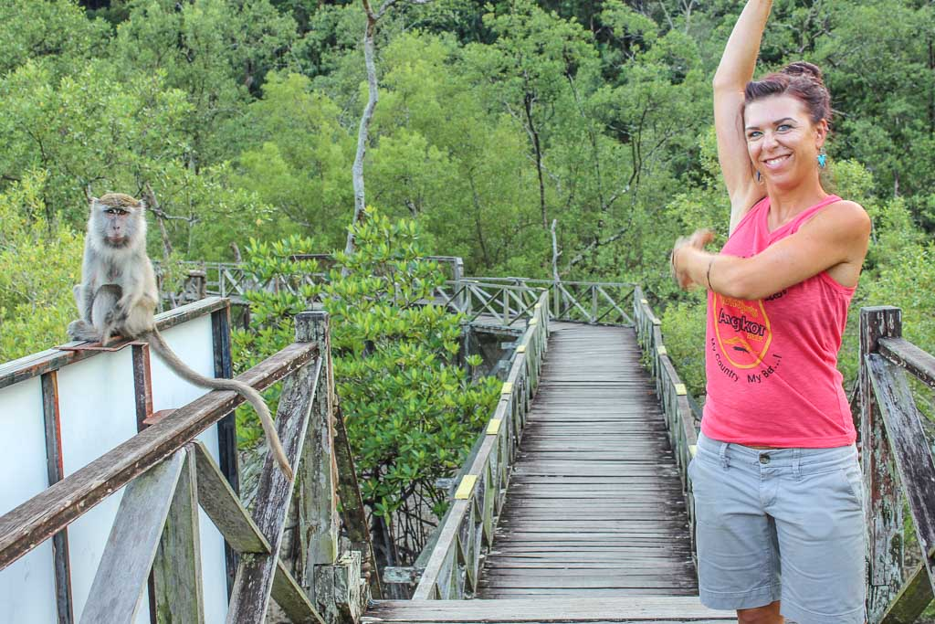 Bako National Park, Sarawak, Malaysia, Borneo, Malaysian Borneo, Malaysia National Park, Borneo National PArk, Sarawak National Park, Bako, girl and macaque