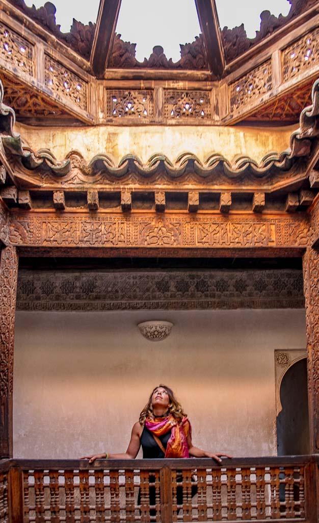 female travel Marrakech, Marrakech, Morocco, Ben Youssef, Ben Youssef Madrasa, Madrasa, Africa, woman Ben Youssef, woman madrasa