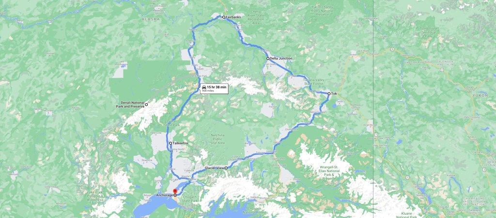 Big Loop Alaska Road Trip Map