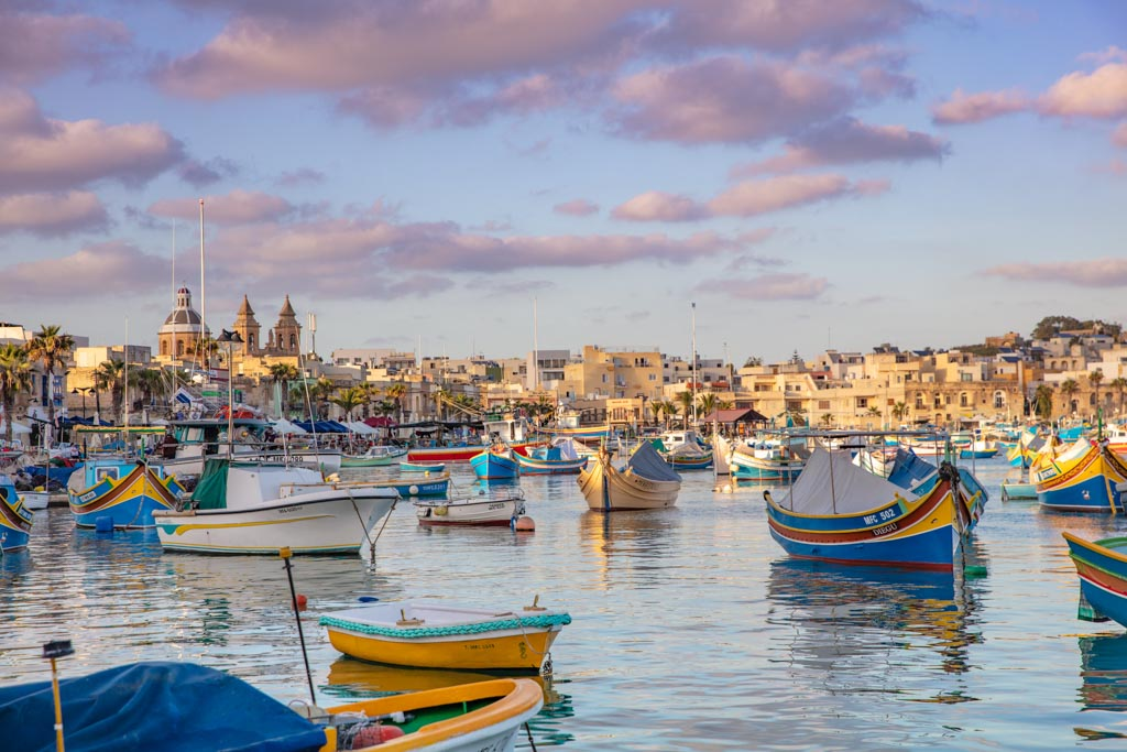 Malta, Malta travel, Malta travel guide, 4 days Malta, Malta itinerary, Europe, Mediterranean, 4 day Malta, 4 day Malta itinerary, Marsaxlokk, Marsaxlokk sunset, Marsaxlokk fishing village