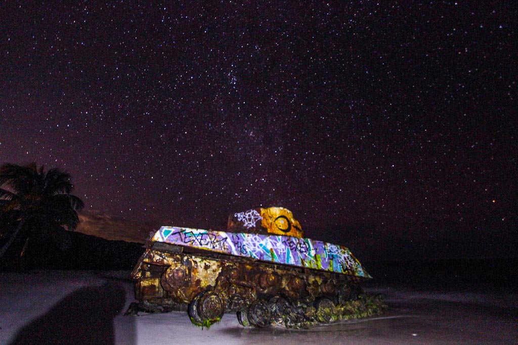 tank, flamenco, flamenco beach, culebra, spanish virgin islands, puerto rico, milky way