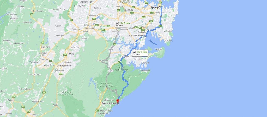Sydney to Figure 8 Pool Map