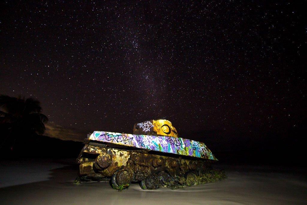 Flamenco beach, Flamenco tank, Culebra, Culebra travel guide, puerto rico, stargazing, astrophotography, Flamenco Beach at night, Culebra at night, Puerto Rico at night, milky way, puerto rico