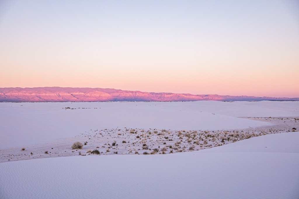 Sunset white sands, White Sands, New Mexico, White Sands New Mexico, White Sands National Park, White Sands National Monument, USA, gypsum