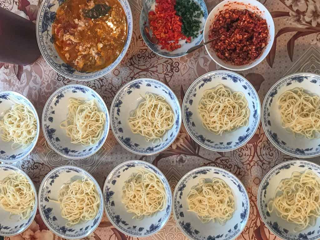 Dungan Family Meal, Ashlan Fu, Yrdyk, Karakol, Kyrgyzstan