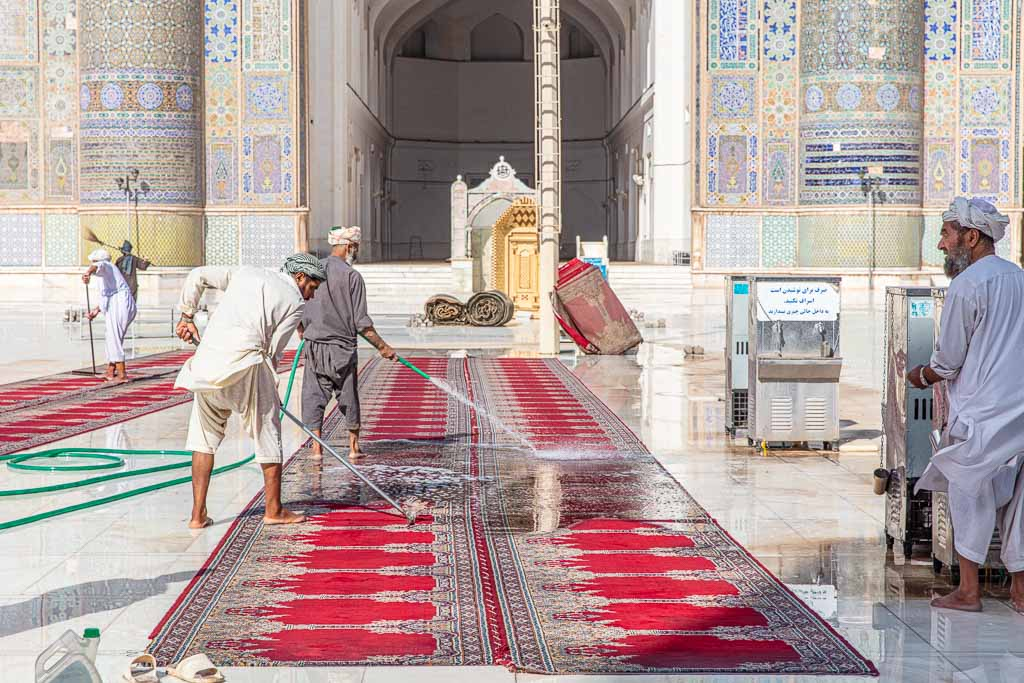 Afghanistan Tour, Afghanistan, Herat, Friday Mosque, Herat Friday Mosque, Great Mosque of Herat, Cleaning mosque carpet