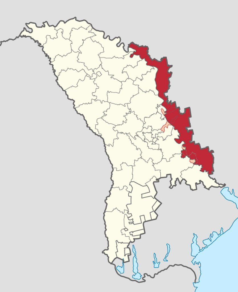 Transnistria in Moldova (de-facto) (semi-secession)