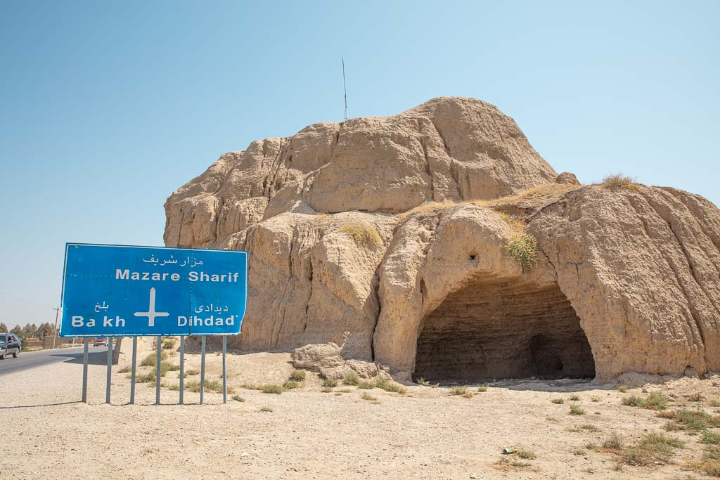 with a distance sign in front of it Zoroaster, Zoroastrianism, Balkh, Afghanistan, Old Balkh