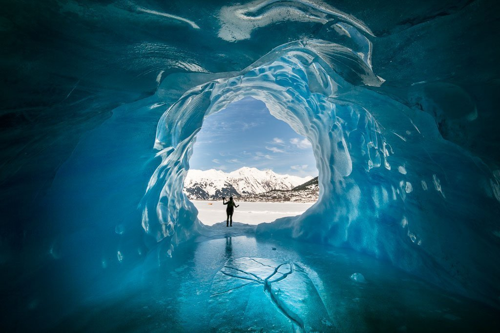 Alaska, Travel Alaska on a budget, Alaska Travel, Travel Alaska, Alaska budget, Alaska budget travel, ice cave, ice cave glacier, glacier cave, Travel AK budget, ice cave, Spencer Glacier, girl ice cave, blue, Spencer glacier Alaska, Spencer Glacier AK, glacier, glacier AK, glacier Alaska