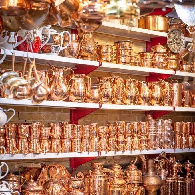 copper ware, Tajrish, Tajrish Bazaar, Tehran, Iran