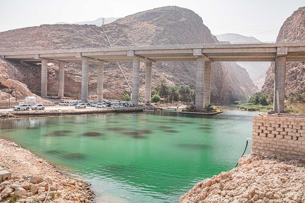 Wadi Shab bridge, Wadi Shab parking,Wadi Shab, Wadi Ash Shab, Oman, Wadi Shab Hike, Wadi Shab Pools