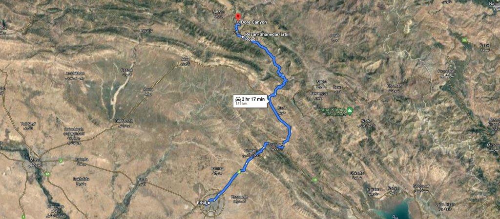 Dore Canyon Map