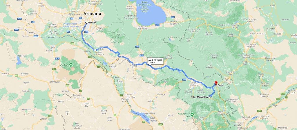 Armenia & Nagorno-Karabakh Road Trip Day 1 Map