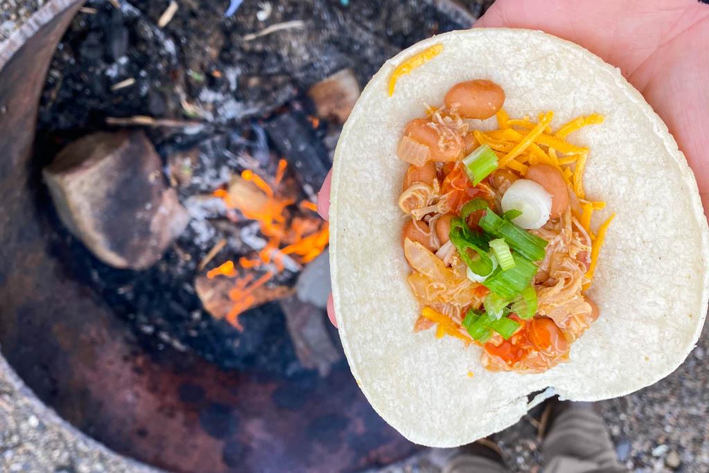 Campfire tacos, Campfire chicken tacos, chicken tacos, tacos, camp tacos