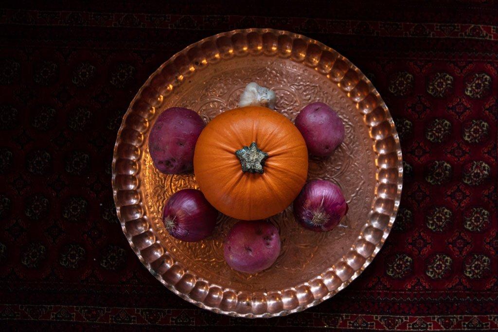 Pumpkin, Onions, Potatoes, Iranian copper tray, Persian copper tray, Turkmen Carpet